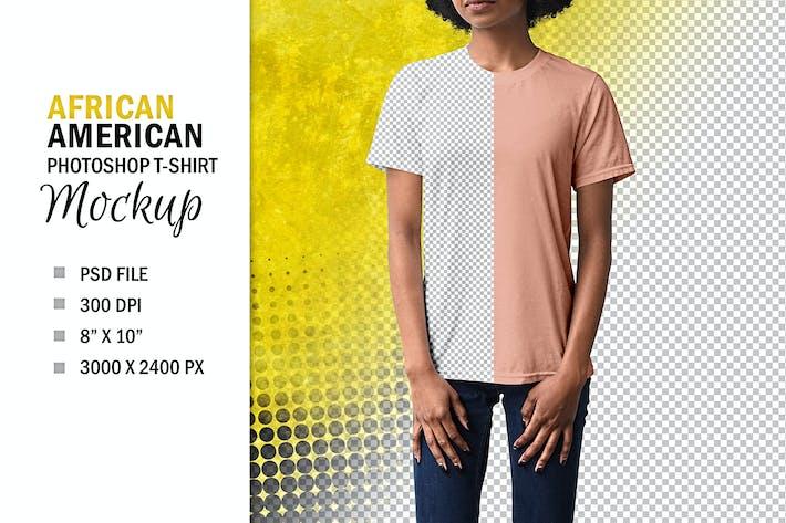 African American Woman's T-Shirt Mockup, PSD