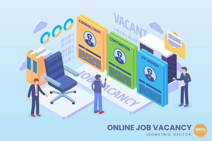 Thumbnail for Isometric Online Job Vacancy Concept