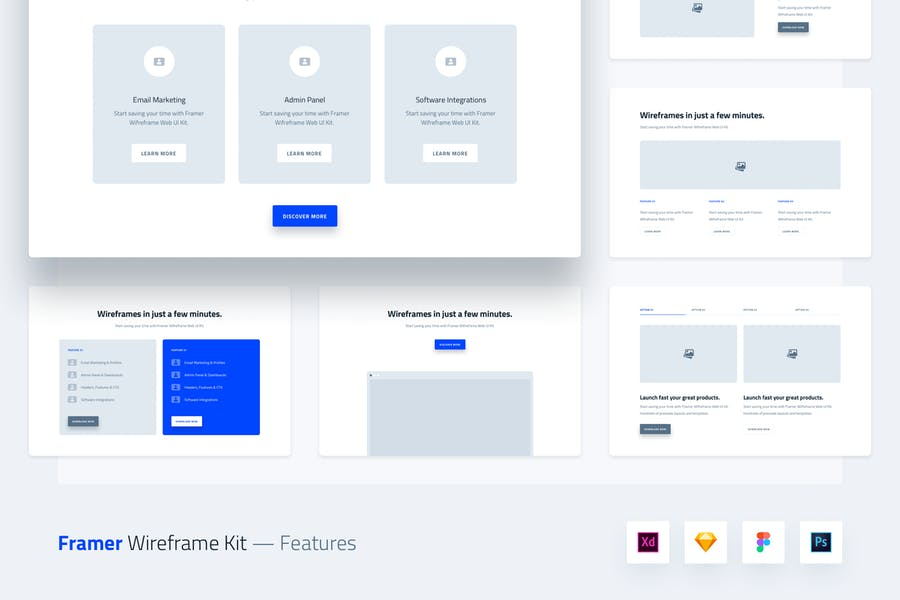Framer Wireframe Web UI Kit Template - Features