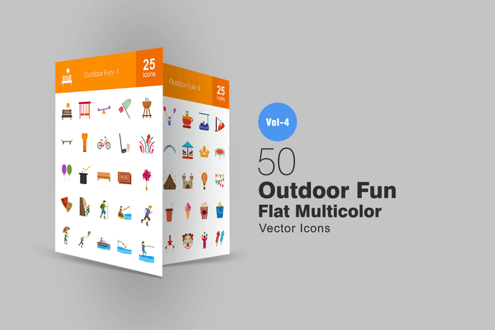 Thumbnail for 50 Outdoor Fun Flat Multicolor Icons