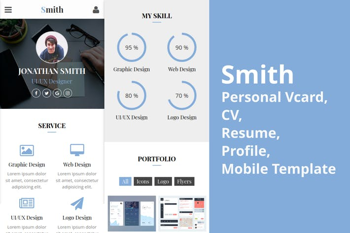 Thumbnail for Smith - Personal vCard, Profile Mobile Template