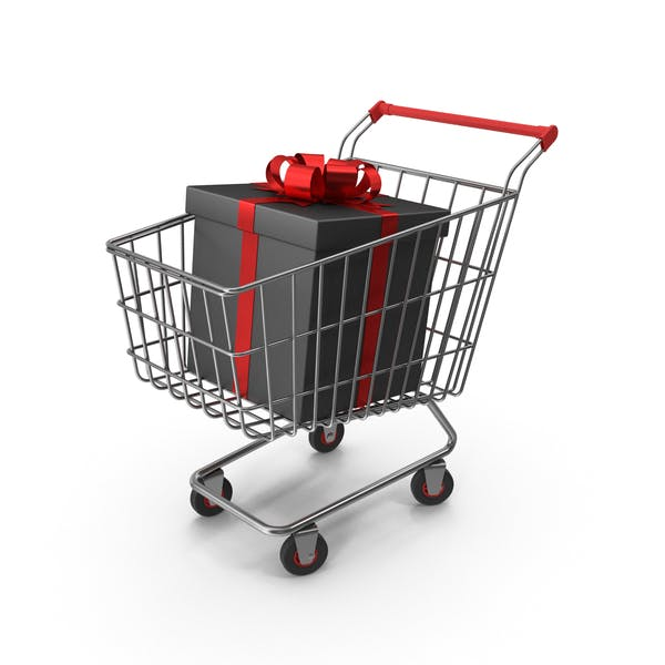 Shopping Cart with Black Packaging Bags and Gift Box