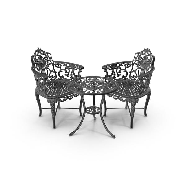 Outdoor Iron Garden Table & Armchair Set