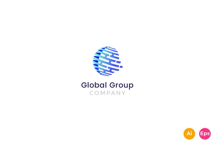 Thumbnail for Global Group Company Business Logo Template