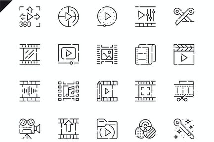 Simple Set Video Editing Line Icons