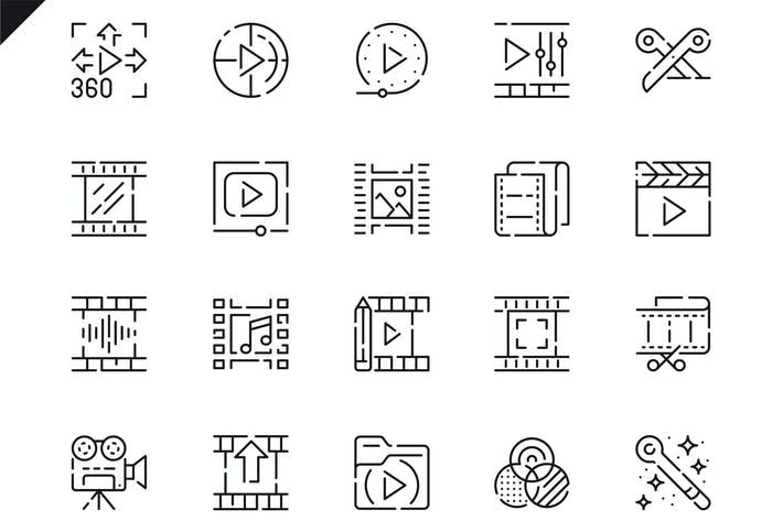 Thumbnail for Simple Set Video Editing Line Icons