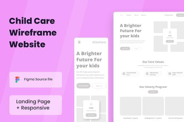 Child Care Wireframe Website
