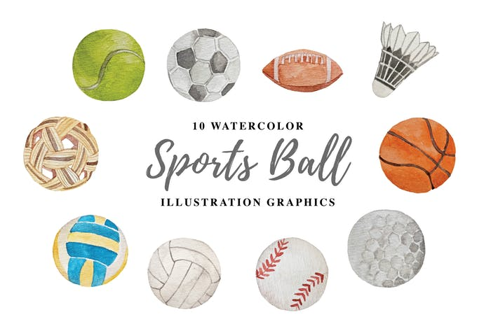 Thumbnail for 10 Watercolor Sports Ball Illustration Graphics