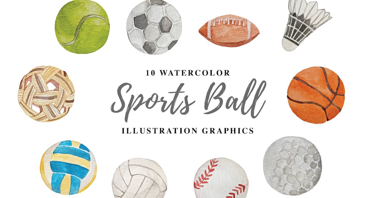 Download 10 Watercolor Sports Ball Illustration Graphics by IanMikraz
