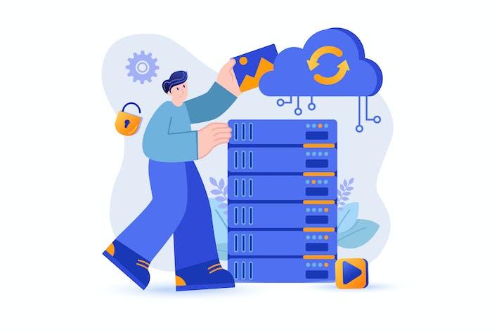 Cloud Storage - Flat Concept