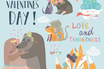 Cute animals couples in love collection.