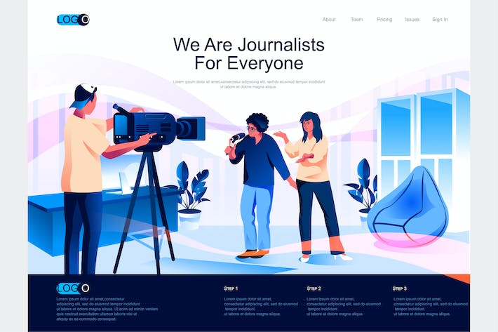 Thumbnail for Journalists Isometric Landing Page Template