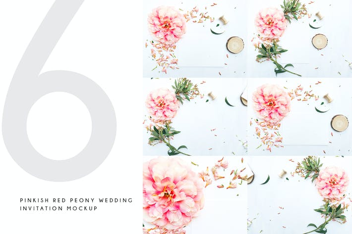 Thumbnail for Pinkish Red Peony Wedding Invitation Mockup