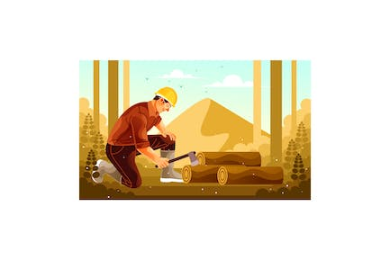 Cutting Wood in the Forest