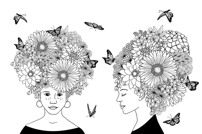 Thumbnail for Flower Girls - Hand Drawn Black & White Drawing