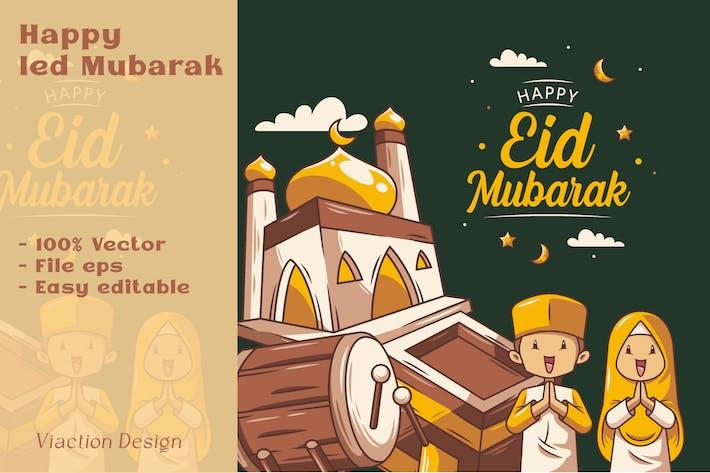 DV - Glückliche Ied Mubarak-Illustration