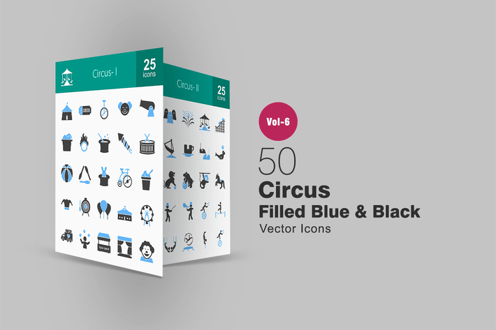 Thumbnail for 50 Circus Blue & Black Icons