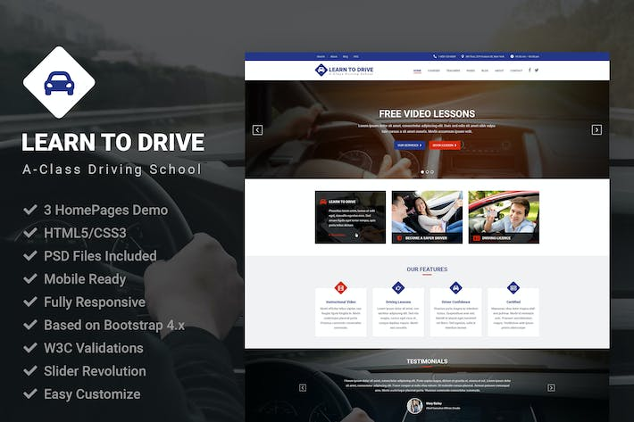 Cover Image For LearnToDrive | Driving School & Lessons Template