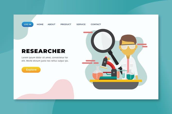 Researcher - XD PSD AI Vector Landing Page