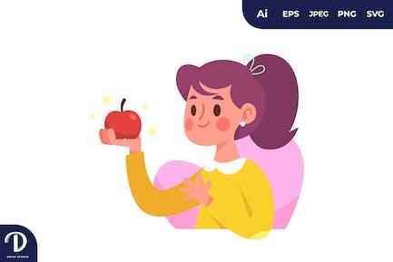 Chica sosteniendo una fruta de manzana