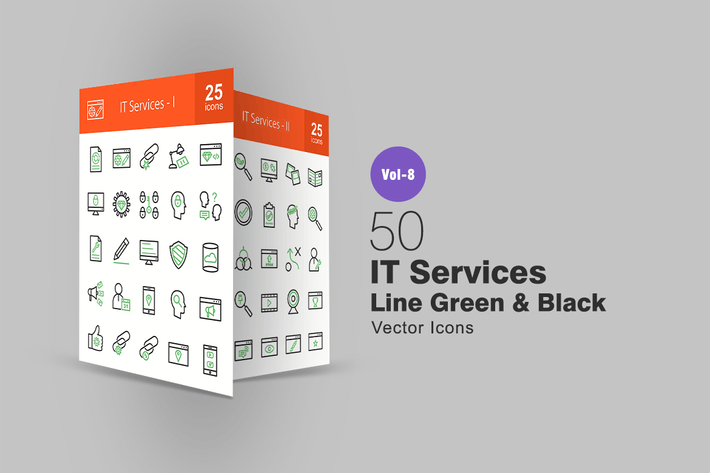 Thumbnail for 50 IT Services Green & Black Line Icons