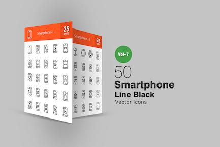 50 Smartphone Line Icons