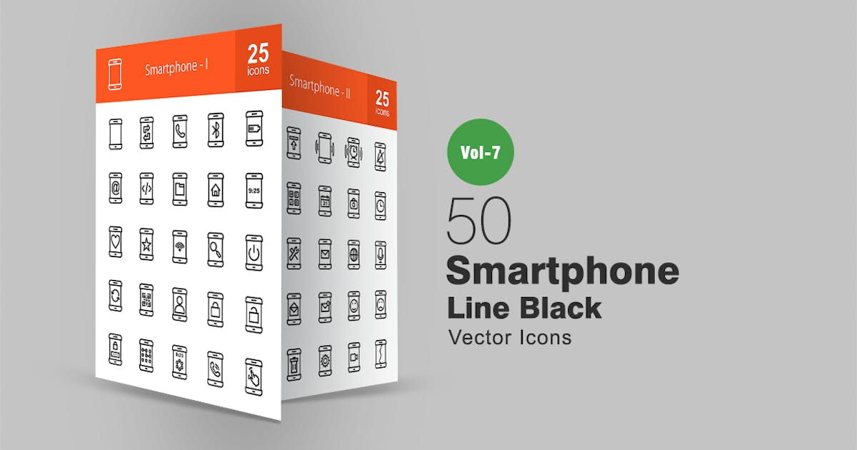Download 50 Smartphone Line Icons by IconBunny
