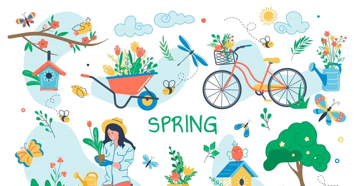 Download Spring Concept Isolated Elements Set by DesignSells