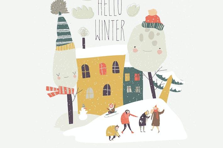 Thumbnail for Gruppe von glücklichen Menschen spielen Schneebälle in der bac