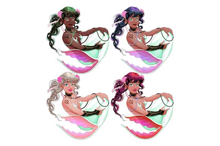 Gruppe von Meerjungfrauen mit verschiedenen Haut und Haaren