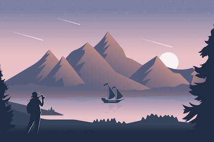 Sternenfall in den Bergen - Landschaft Illustration