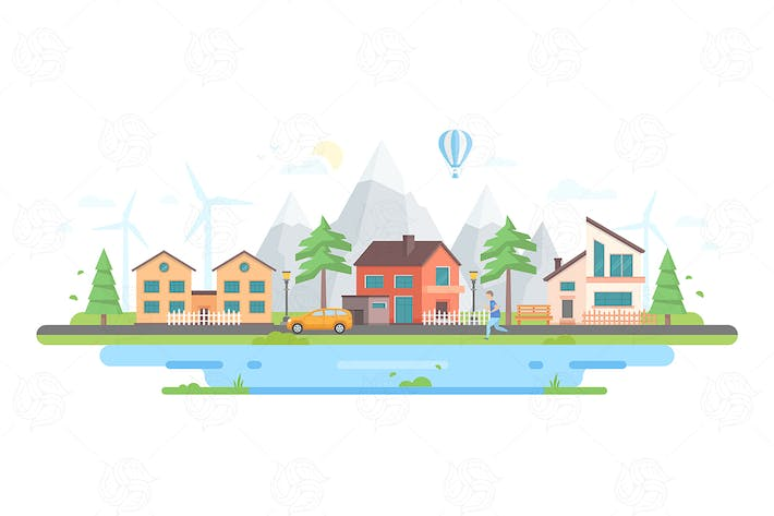 Thumbnail for Town by the hills - flat design style illustration