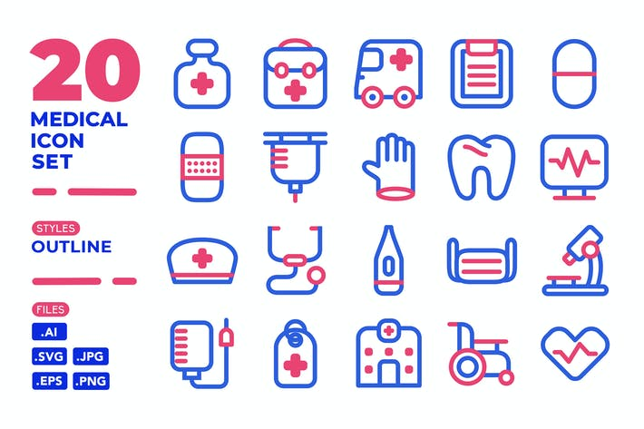 Thumbnail for Medical Icon Set (Outline)