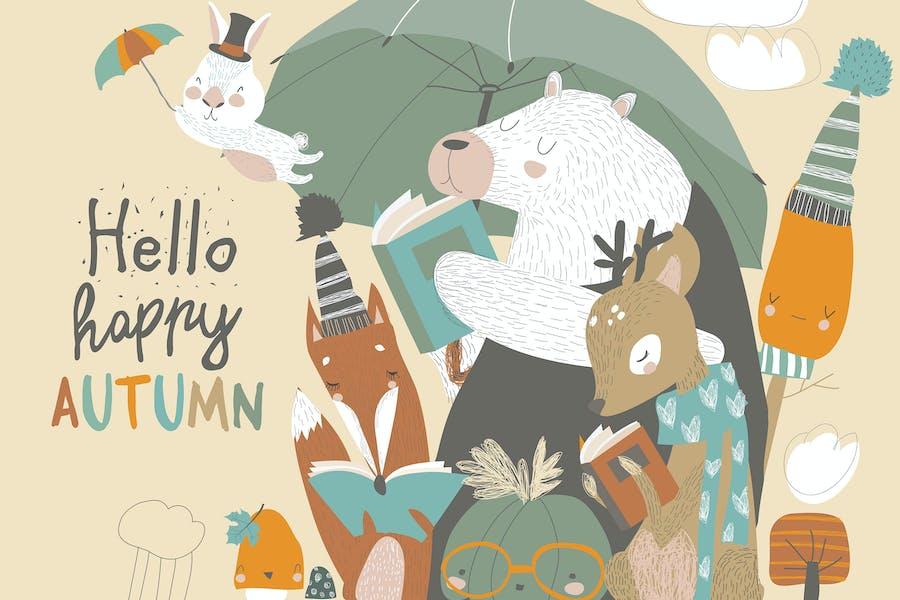 Animales divertidos leen libros bajo paraguas. Otoño ti