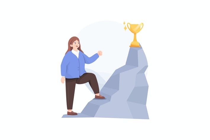Thumbnail for Businesswoman Climbed to Top of Mountain Victory