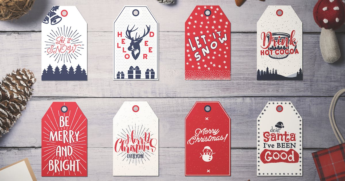 Download Retro Christmas Tags, Holiday Social Media Cards by JeksonJS