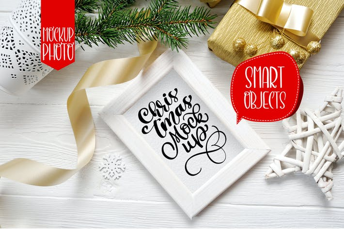 Cover Image For Christmas wooden frame with smart object