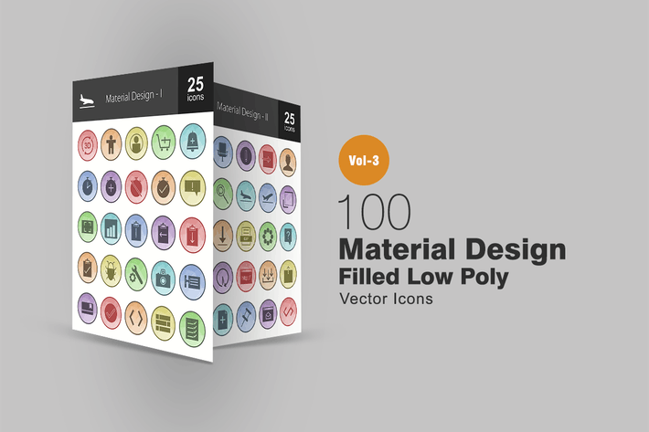 Thumbnail for 100 Material-Design gefüllte Low-Poly-Icons