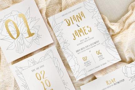 Simple Floral Outline Wedding Suite