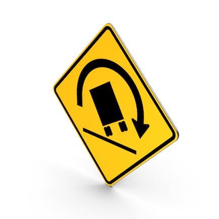 Truck Rollover Warning Road Sign