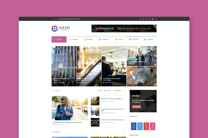 Thumbnail for Hash - News & Magazine HTML Template