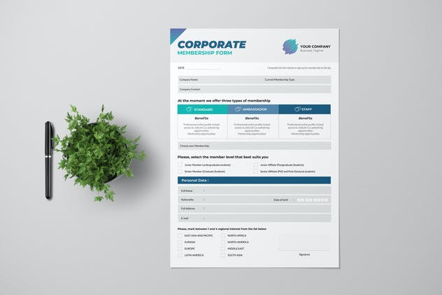 Corporate Membership Form With Blue Accent