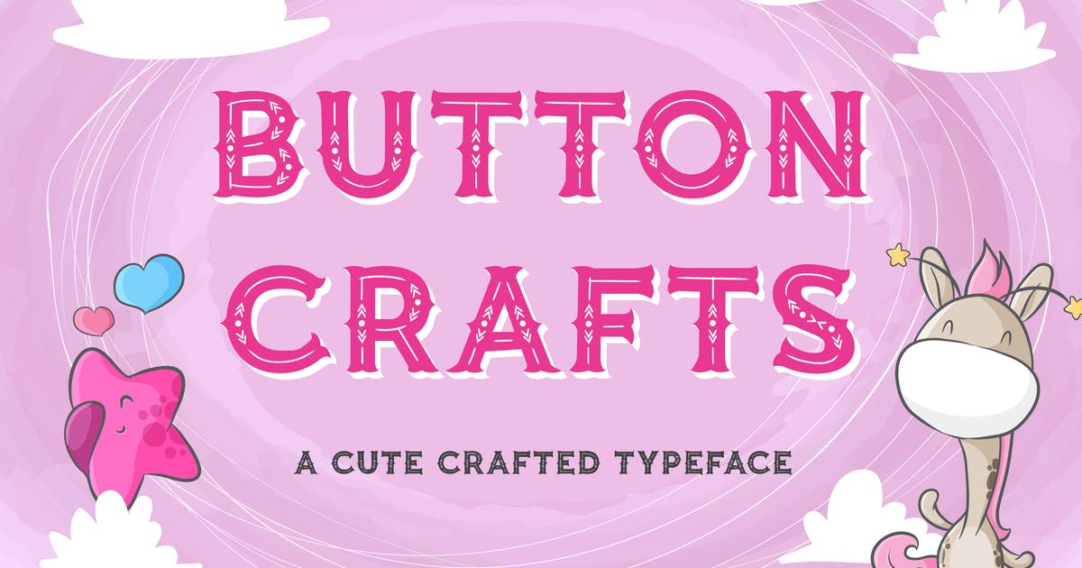 Download Button Crafts - Cute Crafted Typeface by naulicrea