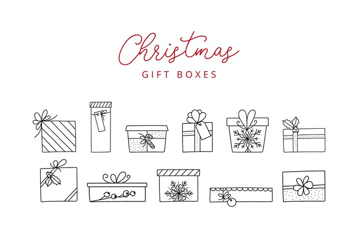 Thumbnail for 11 Christmas Gift Box Doodle Line Icons