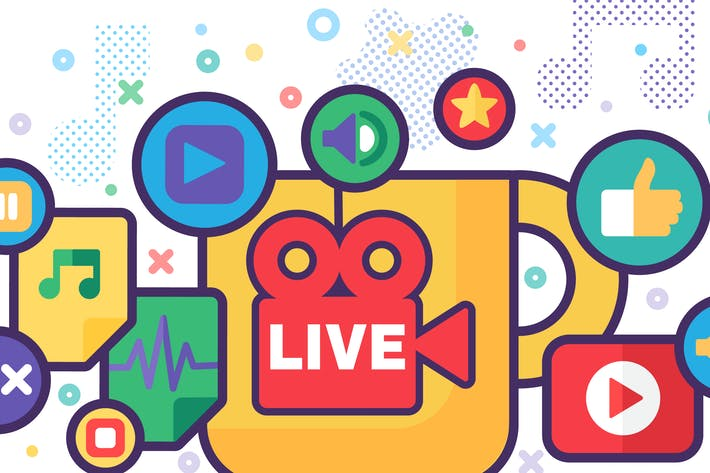 Live Stream Producing Composition Illustration