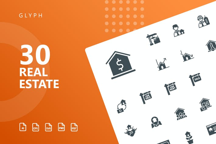 Thumbnail for Real Estate Glyph Icons