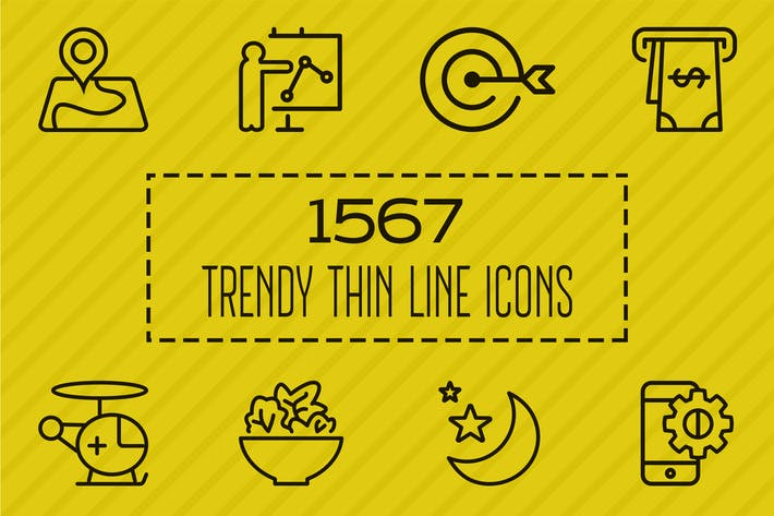 Thumbnail for 1567 Trendy Thin Line Icons