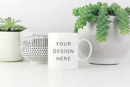 White coffee mug mockup plants bowls