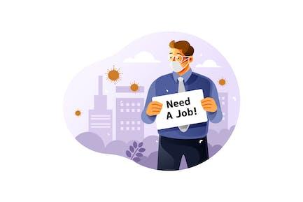 Verlust eines Arbeitsplatzes wegen Coronavirus-Auswirkungen