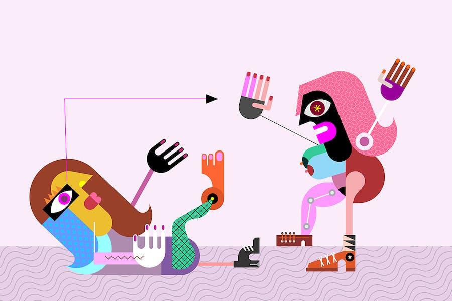 Two Women modern art vector illustration